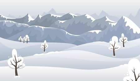 Winter mountain landscape in blue tones. Flat vector illustration.