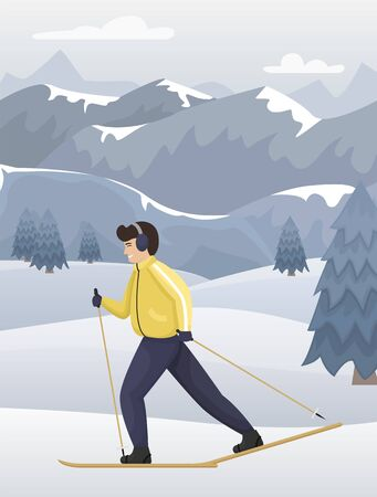 Winter mountain landscape in blue tones. A man in winter clothes on cross-country skiing. Flat vector illustration.