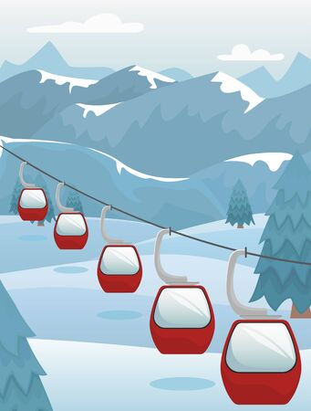 Winter mountain landscape with ski lifts on the slope. Ski resort. Flat vector illustration.