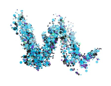 Smear small sparkling sequins on a white background. Blue glitter