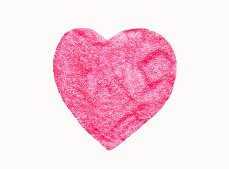 Heart with small sparkling sequins on white background. Pink glitter
