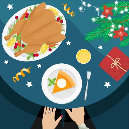 Christmas holiday dinner. Flat lay with turkey with cranberries, pumpkin pie, champagne, fir branches and gifts.