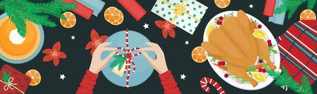 Christmas holiday dinner. Flat lay with turkey with cranberries, pumpkin pie, oranges, fir branches and gifts. Girl packing a gift. Ilustrace