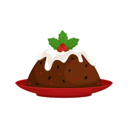Christmas pudding with decoration on a red plate. Isolated vector illustration.