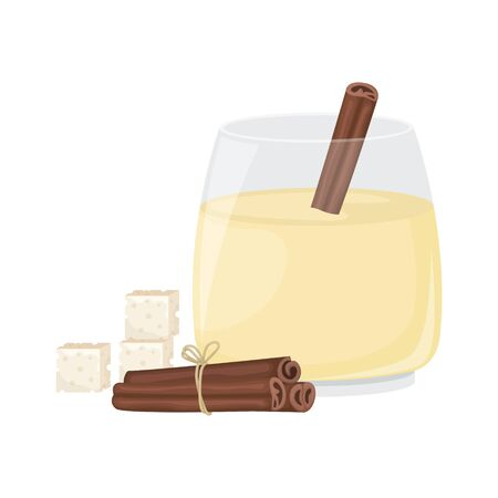 Christmas egg nog in a glass glass and cinnamon stick. Isolated vector illustration. Ilustração