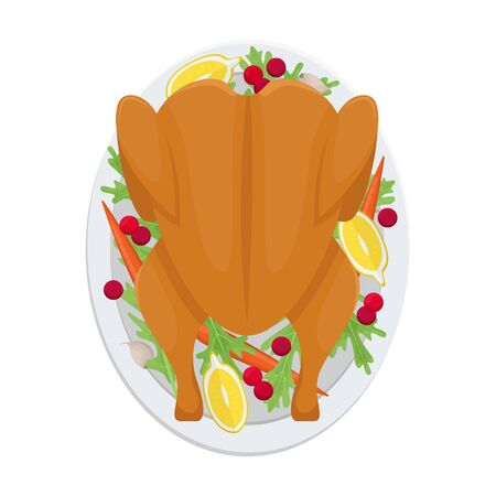Christmas Turkey with cranberries. Isolated vector illustration.