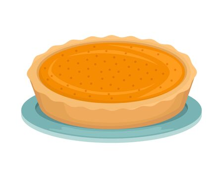 Pumpkin pie on a blue plate. New Year dish.