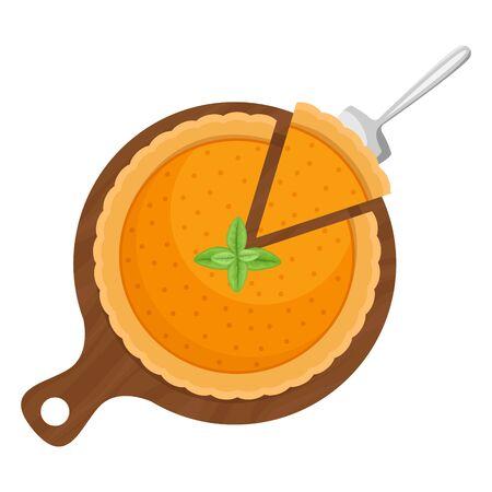 A piece of pumpkin pie on a wooden Board. Flat lay