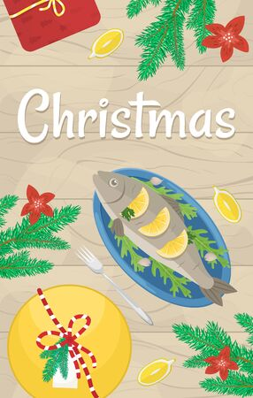 Christmas holiday dinner. Flat lay with fried carp, fir branches and gifts. Christmas party poster.