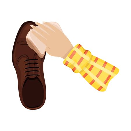 A man polishes a man's leather boot. Shoe care. Vector illustration. Illustration