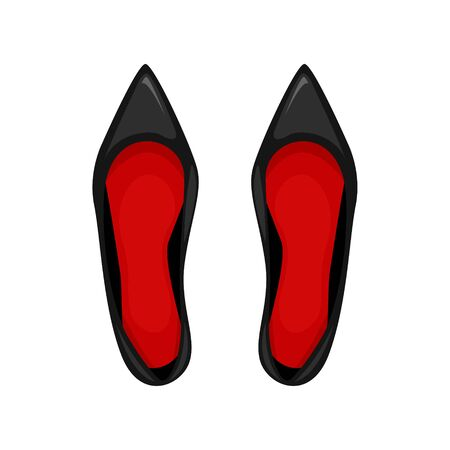 A pair of black patent leather shoes with red insoles. Vector illustration.