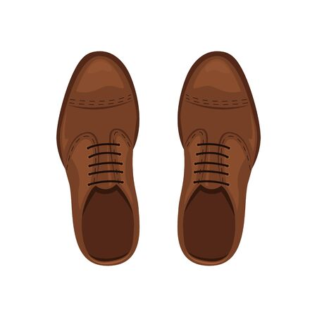 Mens brown leather shoes. The view from the top. Vector illustration.