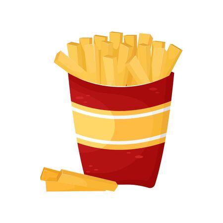 Delicious French fries in cardboard packaging. Vector illustration of fast food. Junk food. Ilustração