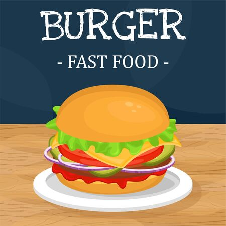Delicious hamburger with cutlet. Vector illustration of fast food. Junk food.