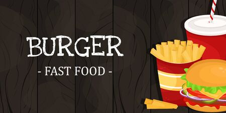 Hamburger, French fries and soda in a cardboard Cup. Vector illustration of fast food. Junk food.