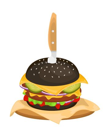 Delicious hamburger on a black bun with cutlet. Vector illustration of fast food. Junk food.