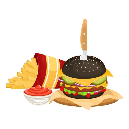 Delicious hamburger on a black bun with cutlet and  French fries in cardboard packaging with ketchup. Vector illustration of fast food. Junk food. Illustration