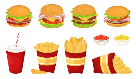 Set of different delicious hamburgers with cutlet, French fries with sauce and soda in a cardboard Cup. Vector illustration of fast food. Junk food. Foto de archivo - 135059941