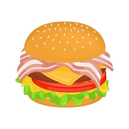 Delicious hamburger with cutlet and bacon. Vector illustration of fast food. Junk food.