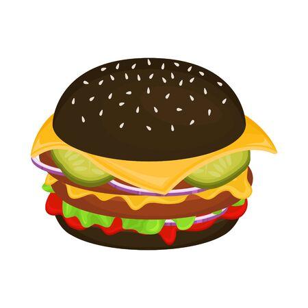 Delicious hamburger on a black bun with cutlet. Vector illustration of fast food. Junk food. Foto de archivo - 135059945