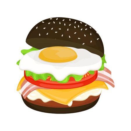 Délicieux hamburger sur pain noir avec escalope, œufs brouillés et bacon. Illustration vectorielle de restauration rapide. Malbouffe.