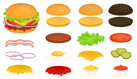 Set of ingredients for a Burger. Make up your Burger. Vector illustration of fast food. Junk food.