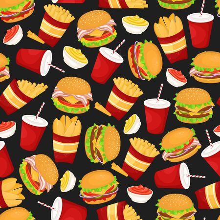 Seamless pattern with burgers, soda and fries. Vector illustration of fast food. Junk food.