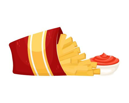 Delicious French fries in cardboard packaging with ketchup. Vector illustration of fast food. Junk food.