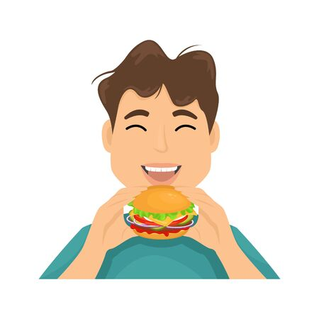 A man with appetite eats hamburger hands. Vector illustration of fast food. Junk food. 일러스트