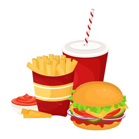 Hamburger, French fries with sauce and soda in a cardboard Cup. Vector illustration of fast food. Junk food. Foto de archivo - 135059988