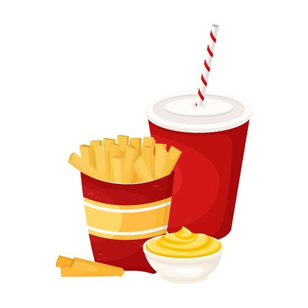 French fries with sauce and soda in a cardboard Cup. Vector illustration of fast food. Junk food. Foto de archivo - 135059999