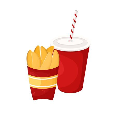 Fried potato slices and soda in a cardboard Cup. Vector illustration of fast food. Junk food. Çizim