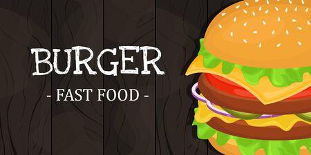 Deliciosa hamburguesa con chuleta. Ilustración de vector de comida rápida. Comida chatarra.