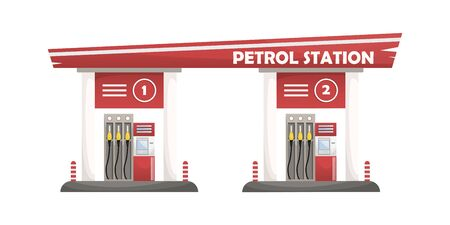 Vector illustration of a car filling station. Isolated illustration.