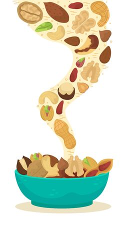 Vector illustration of nuts falling into a deep dish. 向量圖像