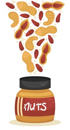 Vector illustration of nuts falling into a jars of nut paste.