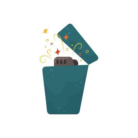Flat vector illustration of a burning blue lighter.