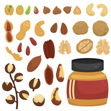 Vector set of different nuts and jars of nut paste.