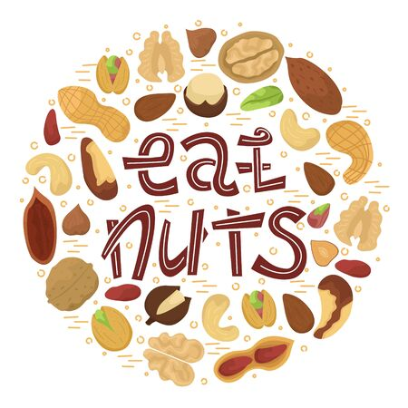 Vector illustration with flat nuts arranged in a circle shape with lettering - eat nuts. Archivio Fotografico - 135999035