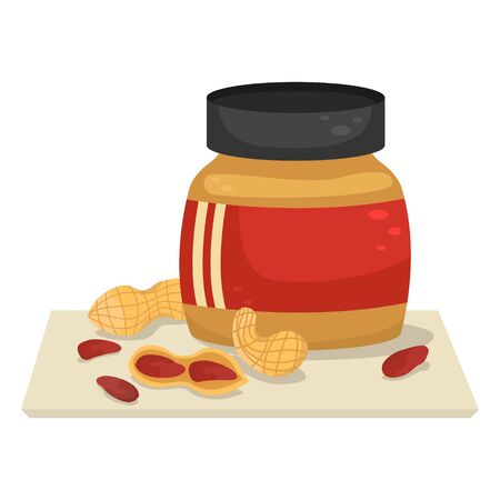 Vector illustration with a jar of peanut paste and peanuts near it. Archivio Fotografico - 136670275