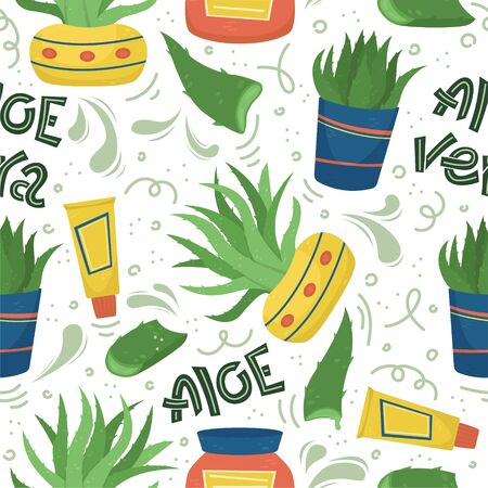 Creative vector seamless pattern with Aloe Vera. Home medicinal plants. Foto de archivo - 139259443