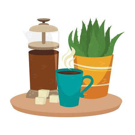 Flat vector french press with a cup of coffee and plant in the pot. Alternative methods of brewing coffee. Coffee culture.