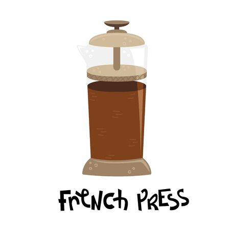Flat vector french press. Alternative methods of brewing coffee. Coffee culture.