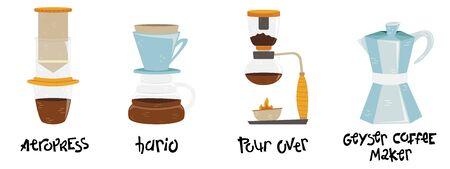 Set of 4 coffee makers for alternative methods of brewing. Coffee culture. Aeropress, hario, pour over, geyser coffee maker. Foto de archivo - 139388515