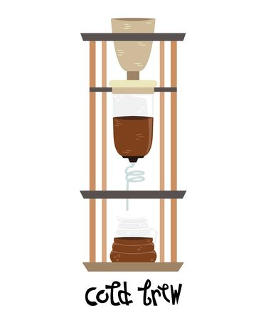 Flat vector cold brew. Alternative methods of brewing coffee. Coffee culture.