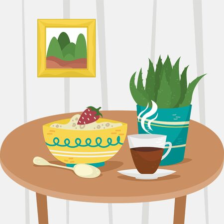 Oatmeal in a bowl with a Cup of coffee and a potted plant. Flat vector illustration. Home interior.