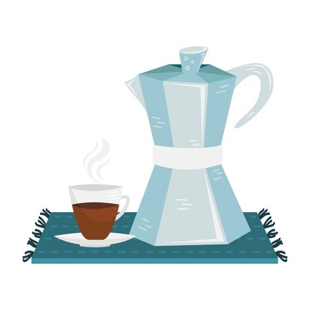 Flat vector geyser cofee maker wuth a cup of coffee. Alternative methods of brewing coffee. Coffee culture.