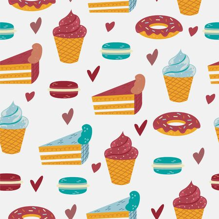 Vector seamless pattern with sweet deserts on the blue background. Foto de archivo - 139388544