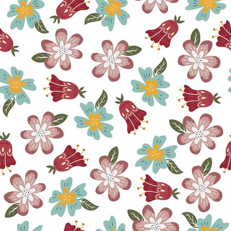 Flower seamless pattern with creative flower buds on the white background. Foto de archivo - 139388545