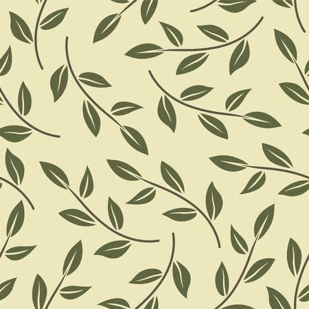 Vector seamless pattern with minimalistic leaves. Botanical background. Foto de archivo - 139388548